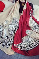 Шифоновый бордовый шарф с совой