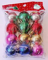 Набор новогодних елочных шаров   Красный   Синий   Зеленый   Малиновый   Золото   Серебро