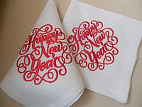 Набор новогодних салфеток из хлопка с вышивкой ручной работы 6шт.