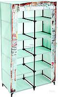 Складной тканевый шкаф гардероб с карманами зеленый с рисунком