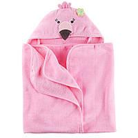 Полотенце с капюшоном Розовый Фламинго велюр-махра Carters, 76х92см