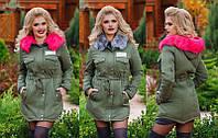 Тёплая женская куртка-парка на меху до больших размеров  в расцветках (DG-д825)