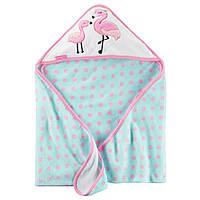 Полотенце с капюшоном Два Фламинго розовый горох велюр-махра Carters, 76х76см