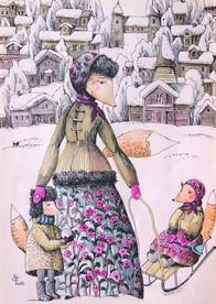 Зимняя открытка Прогулка зимой cards for soul