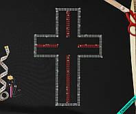 Аппликация, наклейка из страз на ткань Крест (Стекло 2мм-красн., 3мм-бенз.)