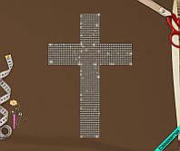Аппликация, наклейка из страз на ткань Крест (Стекло 2мм-роз., 3мм-бел.)