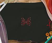 Аппликация, наклейка из страз на ткань Бабочка (DMC 2мм-красн.)