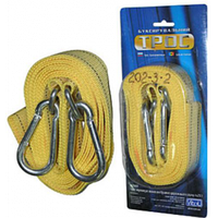 Трос буксир ST1004/ТР-202-3-2  3т лента 47мм х 4,5м  желтый/карабин/блистер