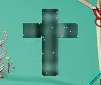 Аппликация, наклейка из страз на ткань Крест (DMC 3мм-черн.)