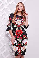Облегающее черное платье Букет маки сукня Лоя-3Ф д/р