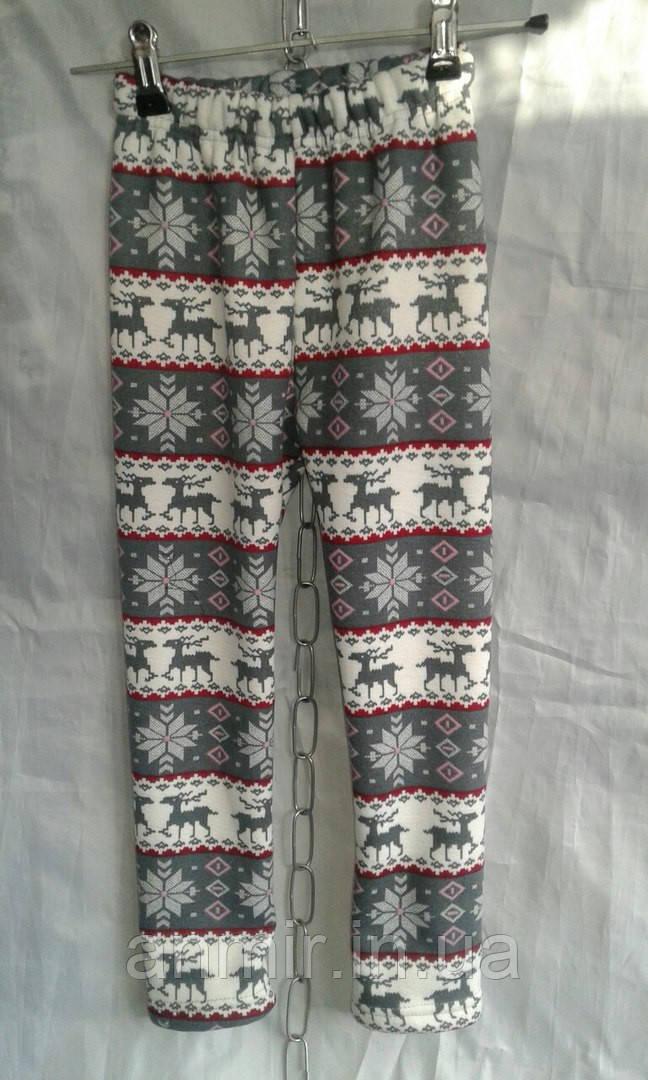 """Детские шерстяные теплые штаны для девочки 6-10 лет,""""Олени""""серые с красным"""