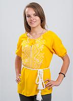 """Блуза вышиванка женская """"Волна"""" (белым по желтому)"""
