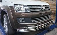 Защита переднего бампера Volkswagen Amarok (двойная) d76/60