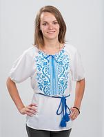 """Женская блуза вышиванка """"Волна""""  голубой орнамент"""