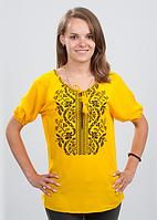 """Женская блуза вышиванка """"Волна"""" (черным по желтому) короткий рукав"""