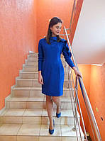 Стильное  платье приталенного силуэта с воланом