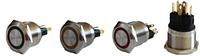 Кнопка металлическая с фиксацией и подсветкой TYJ 22-371 (1NO+1NC), желтая 220V