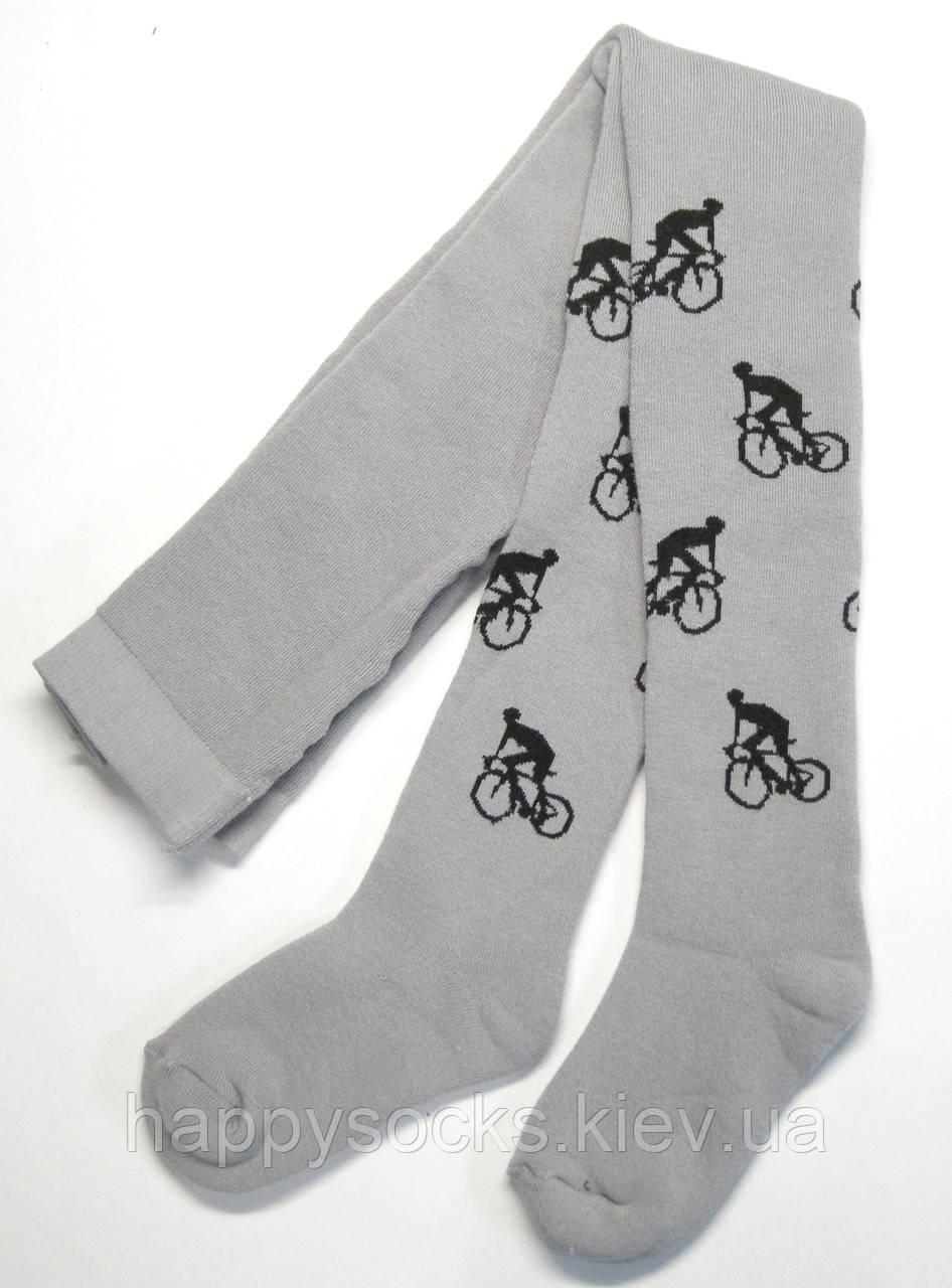 Серые мальчиковые махровые колготки с велосипедистом