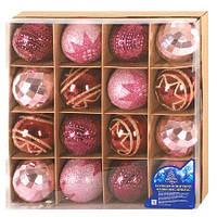 Елочные игрушки Шары новогодние цвета ассорти 6 см 16 шт в коробке