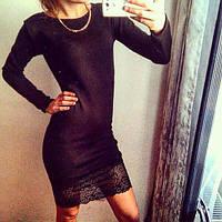 Платье с широким кружевом по низу