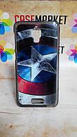 Чехол силиконовый бампер для Lenovo S660 с рисунком Капитан Америка