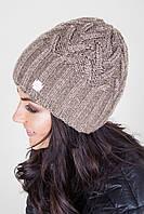 Уютная двойная шапка с объемным узором