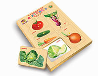 Рамки-вкладыши Монтессори с подслоем Овощи Украины., фото 1