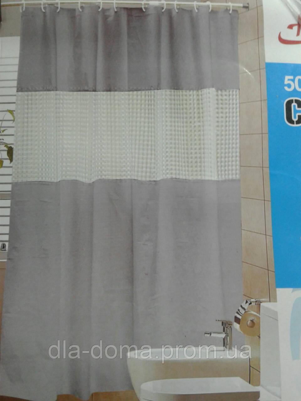 Штора для ванной с галограммой серая