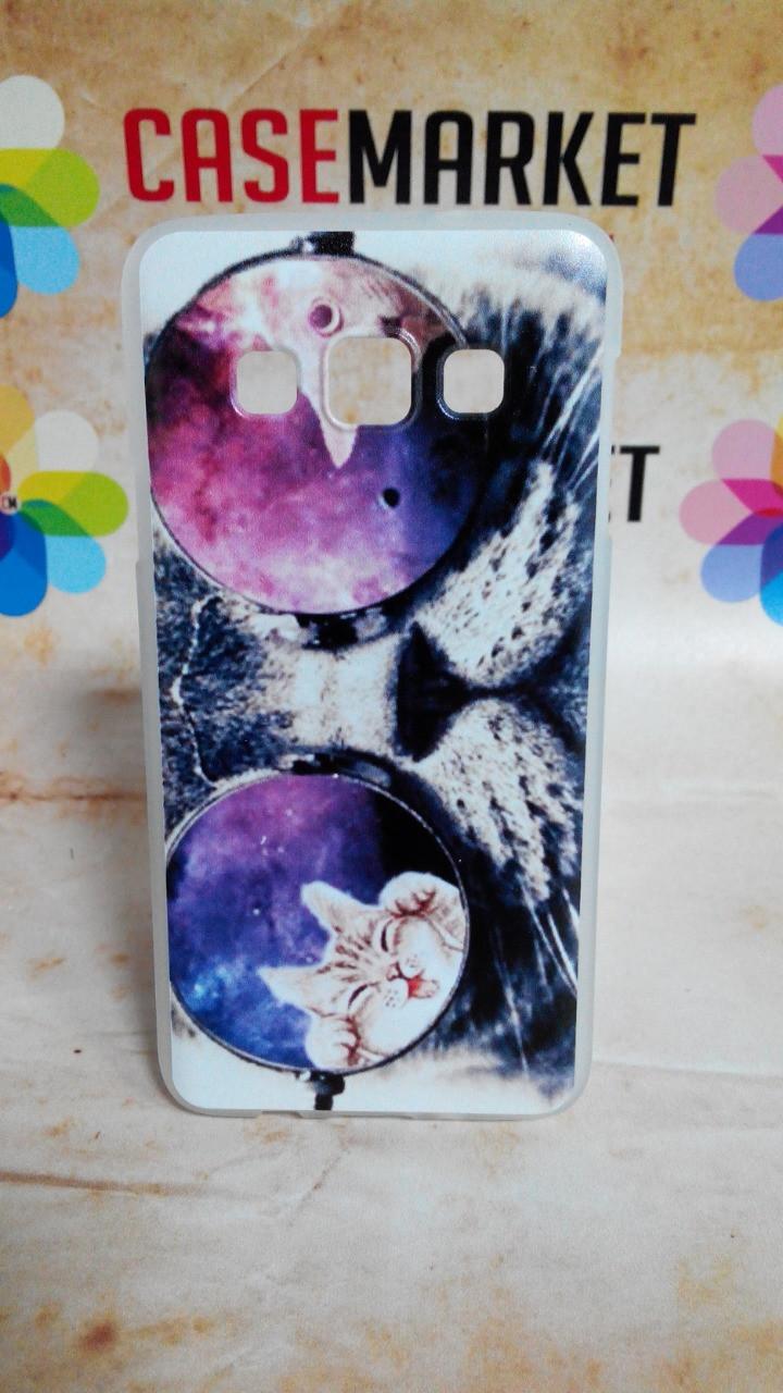 Cиликоновый чехол бампер для Samsung Galaxy A3 A300 с рисунком Кот в очках