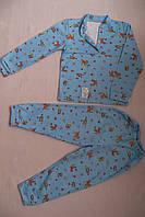 Детская пижама голубая олененки зайчики полотно интерлок