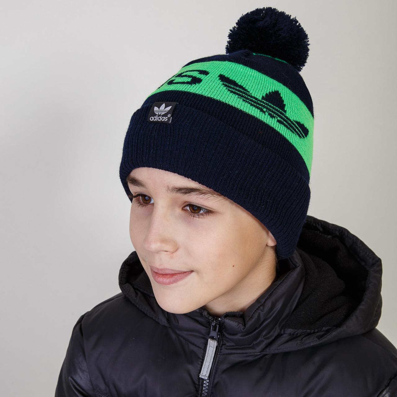 Спортивная шапка с помпоном для мальчика зима оптом  - Артикул 2767
