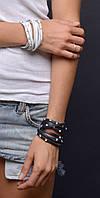 Кожаный женский браслет, наматывающийся на руку