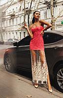 Женское красивое гипюровое платье с фатином 74 / коралл