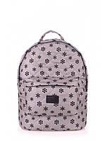 Стеганый рюкзак Poolparty серый с снежинками 40х30х16см болонья на синтепоне