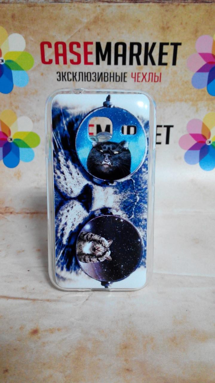 Чехол силиконовый бампер для Samsung J1 mini Galaxy J105 с рисунком Кот в очках
