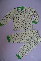 Детская пижама оливковая паравозики полотно начес