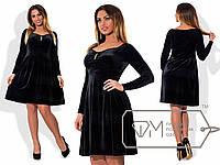 Платье из бархата с приталенным лифом, расклешённой юбкой и глубоким вырезом-сердце размер 48-54