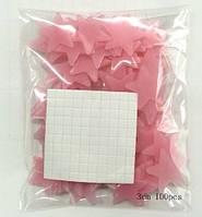Светящиеся в темноте звезды 100 шт., розовые