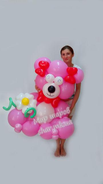 Мишка Гвидо из воздушных шариков, розовый