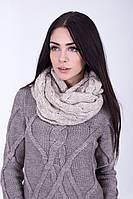 Теплый женский хомут цвета лен