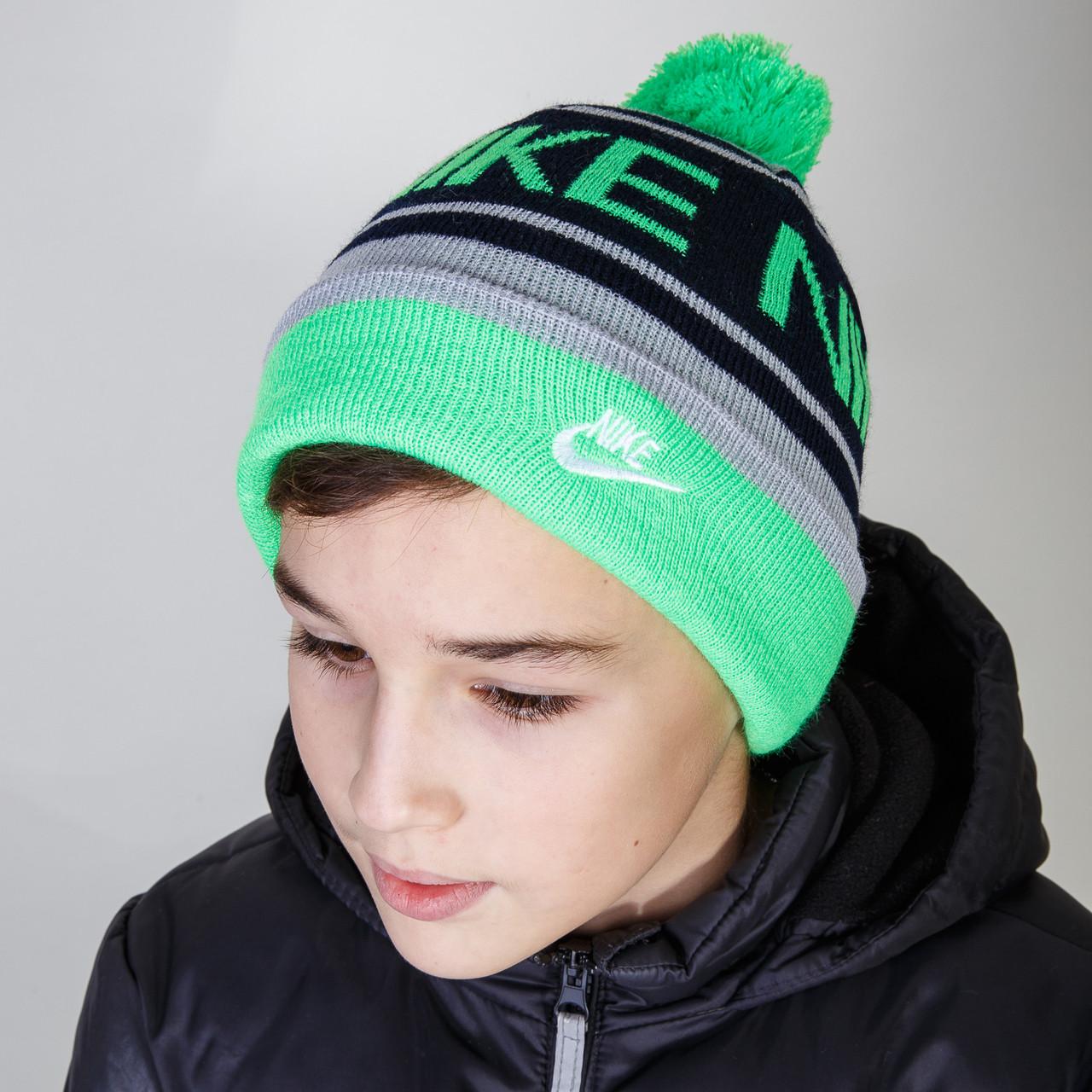 Зимняя спортивная шапка с помпоном для мальчика оптом - Артикул 2802