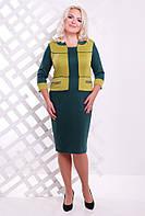 52,54,56,58,60,62 размеры Платье Гармония бутылка+оливка женское большого размера на работу повседневное