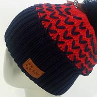 Цветная теплая шапка с бубоном в расцветках f-120761