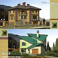"""Проектирование коттеджей: """" Evrohabitate """"; """" Альпийский """" стиль. Расчет конструкций; планирование территории."""