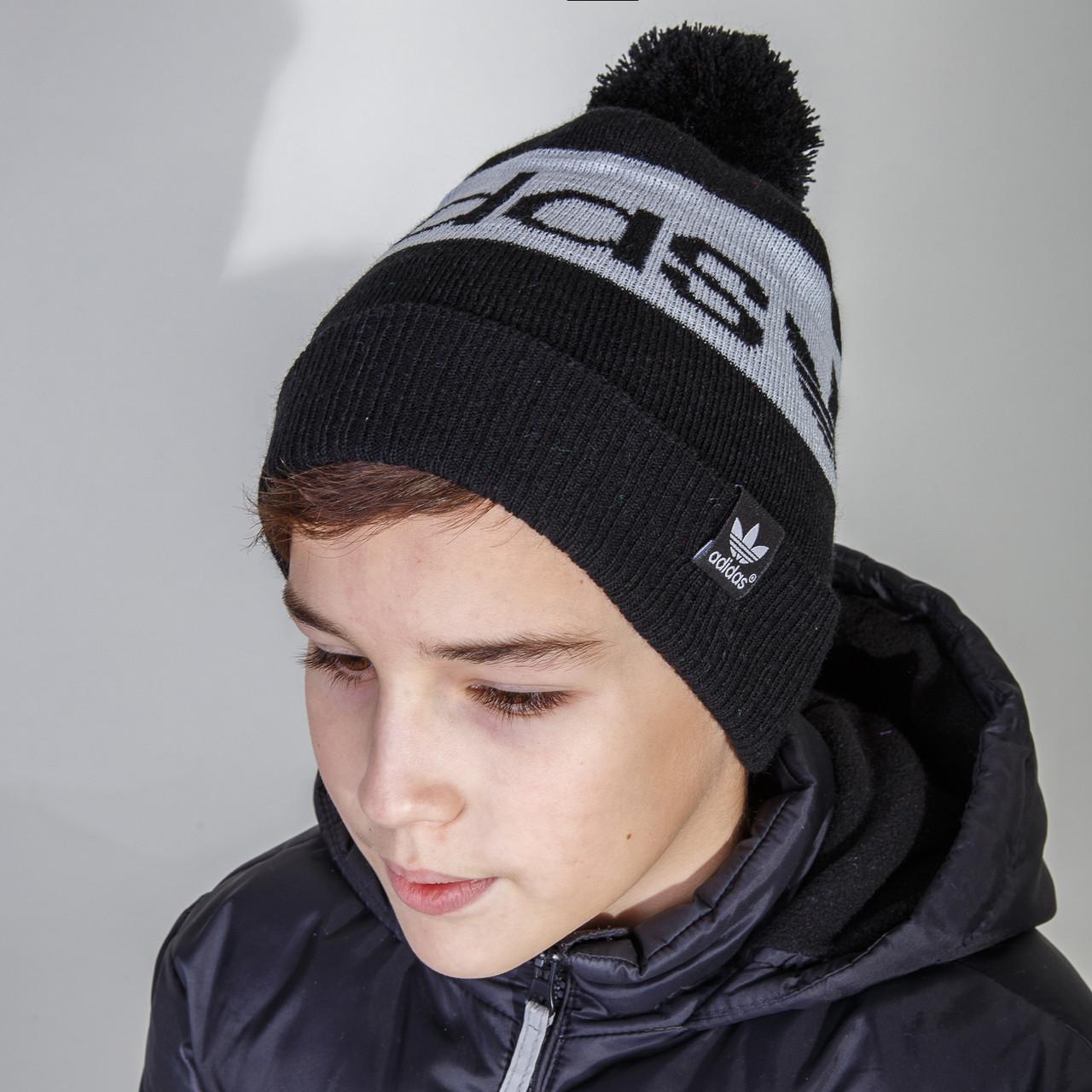 Cпортивная шапка Adidas (реплика) для мальчика с помпоном оптом - Артикул 2815