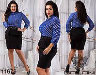Платье женское с баской  размер  48-54