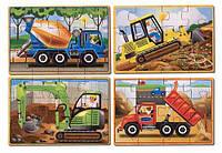 Строительные машины - набор из 4 пазлов