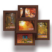 Мультирамка-коллаж Пенелопа на 5 фотографий 10х15 коричневая  премиум