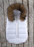 Дутый конверт-мешок Snowman, с натуральной опушкой (Blue Frost) белый