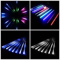Гирлянда тающие сосульки LED 45см: 8 сосулек в комплекте (цветная/белая/синяя)